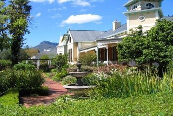 Gardens and houses facing Van Riebeeck Street in Stellenbosch