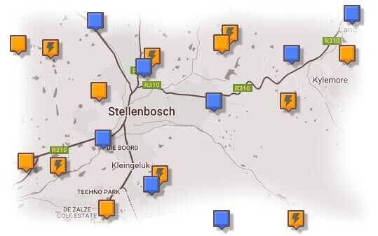 Map of Stellenbosch & Surrounding Area Accommodation